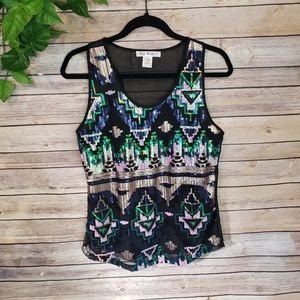 Say What? Sequence Style Aztec Top Size Small